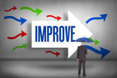 Improve - against arrows pointing — Stock Photo