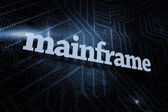 Mainframe against futuristic black and blue background — Stock Photo