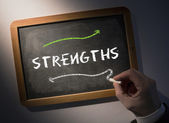 Hand writing Strengths on chalkboard — Stock Photo