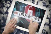 Hand touching processes on search bar on tablet screen — Stock Photo