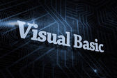 Visual basic - against futuristic black and blue background — Stock Photo