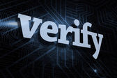 Verify against futuristic black and blue background — Foto de Stock