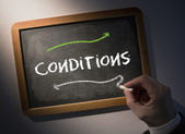 Hand writing Conditions on chalkboard — Stock Photo