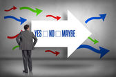 Yes, no, maybe - against arrows pointing — Stock Photo