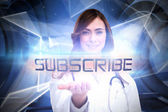 Word subscribe and portrait of female nurse — Stock Photo
