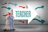 Teacher against arrows pointing — Stock Photo