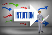 Intuition against arrows pointing — Stock Photo