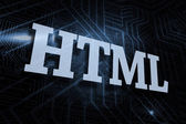 Html against futuristic black and blue background — Stock fotografie