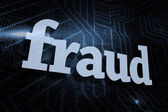 Fraud against futuristic black and blue background — Stock Photo