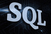 SQL - against futuristic black and blue background — Stock Photo