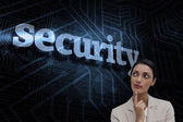 Word security and smiling businesswoman — Stock Photo
