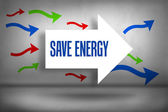 Save - energy against arrows pointing — Stock Photo