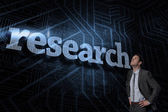 Research against futuristic black and blue background — Stock Photo