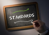 Hand writing Standards on chalkboard — Stock Photo