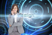 Design against futuristic technological background — Stock Photo