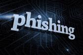 Phishing against futuristic black and blue background — Stock Photo