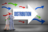 Distribution against arrows pointing — Stock Photo