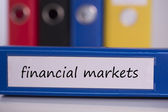 Financial markets on blue business binder — Stock Photo