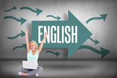English against arrows pointing — Stock Photo