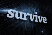 Survive against futuristic black and blue background — Stock Photo