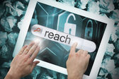 Hand touching reach on search bar on tablet screen — Stock Photo