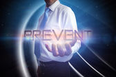Businessman presenting the word - prevent — Stock Photo