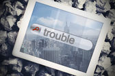 Trouble in search bar on tablet screen — Stock Photo