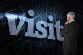 Word visit and thoughtful businessman — Stock Photo