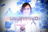 Word encrypted and portrait of female nurse — Stock Photo