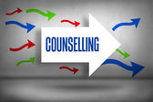 Counselling - against arrows pointing — Stock Photo