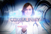 Word community and portrait of female nurse — Stock Photo