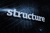 Structure against futuristic black and blue background — Stock Photo