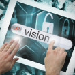 Hand touching vision on search bar on tablet screen — Stock Photo