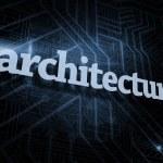 Architecture against futuristic black background — Stock Photo