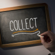 Hand writing Collect on chalkboard — Stock Photo