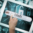 Hand touching publish on search bar on tablet screen — Stock Photo