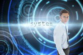 System against futuristic technological background — Stock Photo