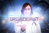 Word broadcast and portrait of female nurse — Stock Photo