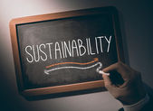 手在黑板上写的可持续性 — 图库照片