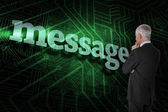 Word message and thoughtful businessman — Stock Photo