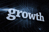 Growth against futuristic black and blue background — Stock Photo