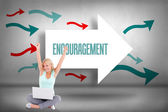 Encouragement against arrows pointing — Stock Photo