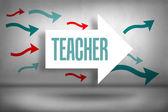 Teacher - against arrows pointing — Stock Photo