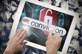 Hand touching conviction on search bar on tablet screen — Stock Photo