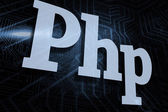 Php against futuristic black and blue background — Stock Photo