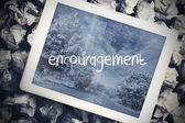 Encouragement in search bar on tablet screen — Stock Photo