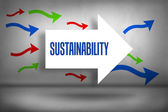 Sustainability - against arrows pointing — Stock Photo