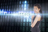 Attack against glowing codes on black background — Stock Photo