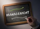 Hand writing Management on chalkboard — Stockfoto