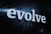 Evolve against futuristic black and blue background — Stok fotoğraf